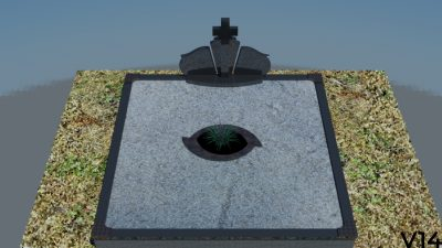 Paminklas, trijų dalių paminklas, gėlynas, skalda