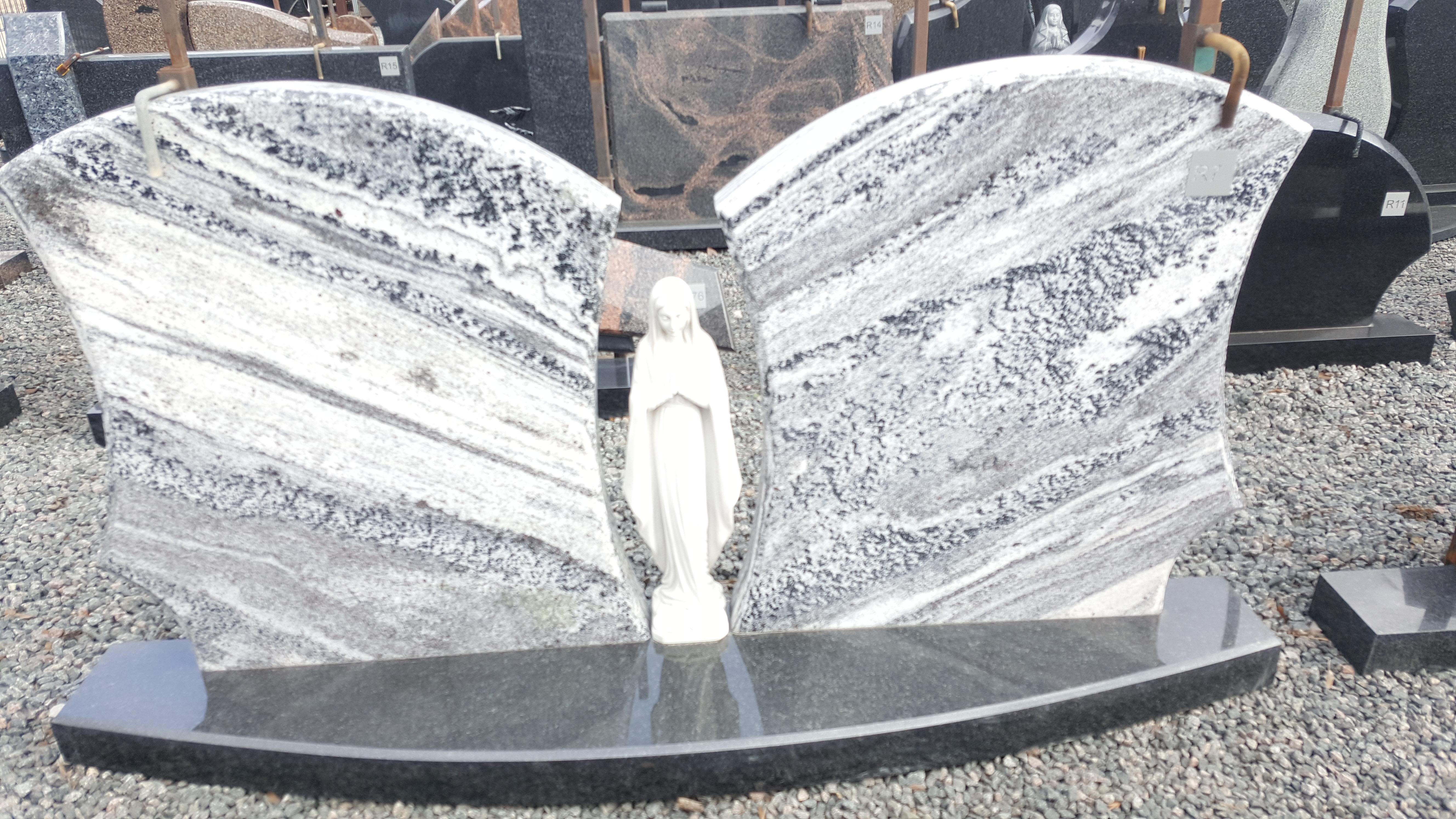Ice tundra granito paminklas su statulėle