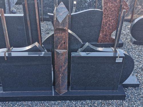 Trijų dalių paminklas juodo gabro diabaz ir Aurora granito