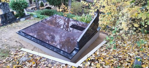 Dviejų dalių paminklas kapo dengimas granito plokštėmis